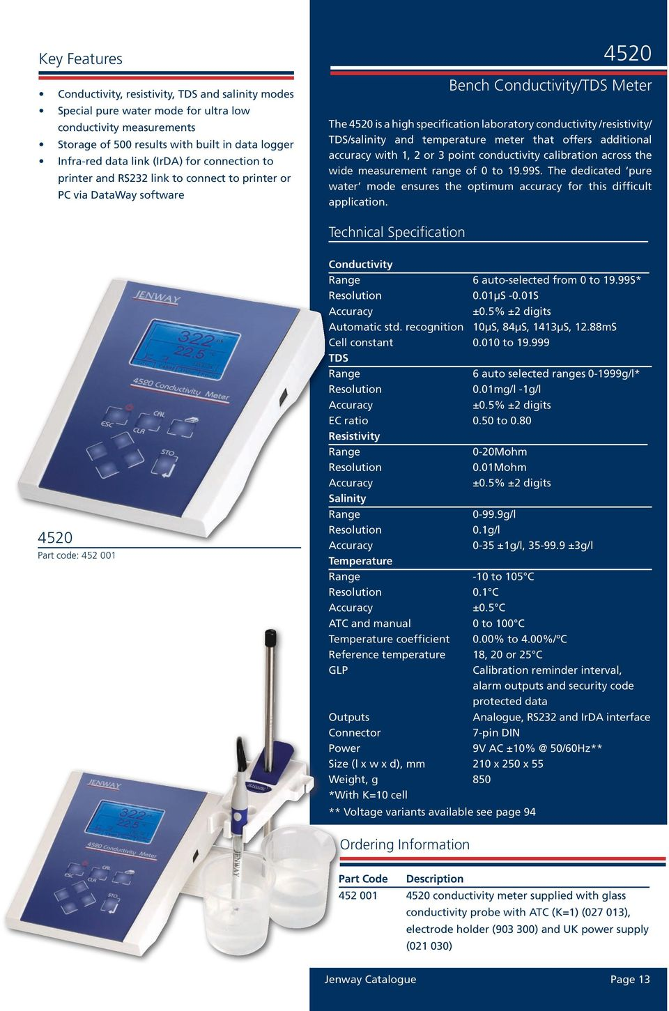 /resistivity/ TDS/salinity and temperature meter that offers additional accuracy with 1, 2 or 3 point conductivity calibration across the wide measurement range of 0 to 19.99S.