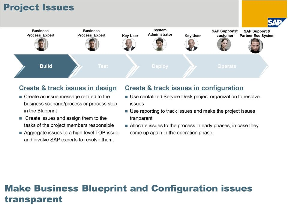 Aggregate issues to a high-level TOP issue and involve SAP experts to resolve them.