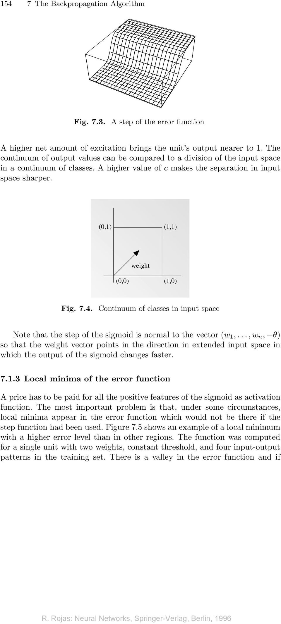 (0,) (,) weight (0,0) (,0) Fig. 7.4. Continuum of classes in input space Note that the step of the sigmoid is normal to the vector (w,.