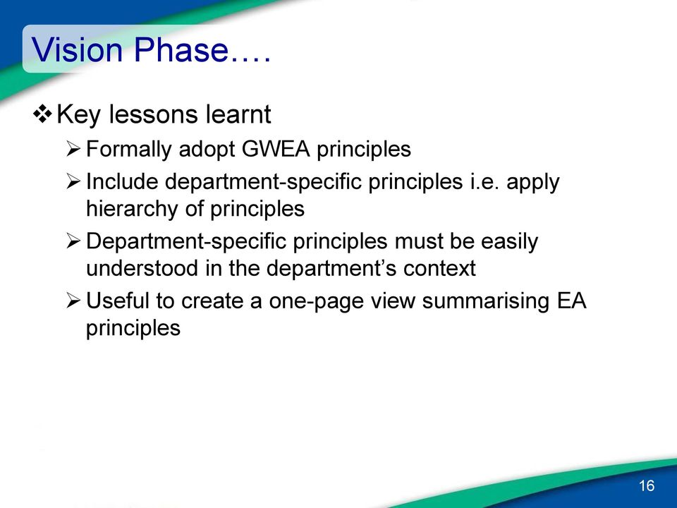 department-specific principles i.e. apply hierarchy of principles