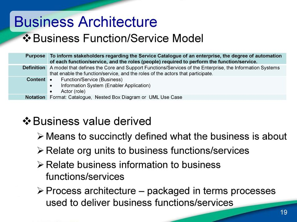 Definition A model that defines the Core and Support Functions/Services of the Enterprise, the Information Systems that enable the function/service, and the roles of the actors that participate.