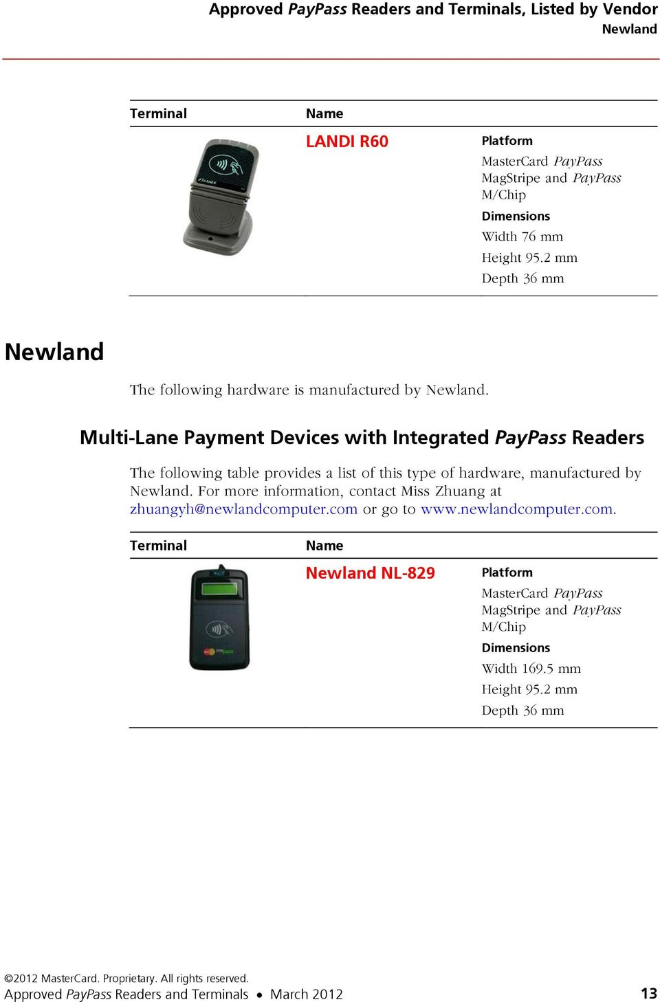 Multi-Lane Payment Devices with Integrated PayPass Readers Newland.