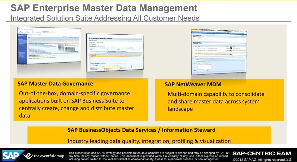 master data SAP NetWeaver MDM Multi-domain capability to consolidate and share master data across system landscape SAP