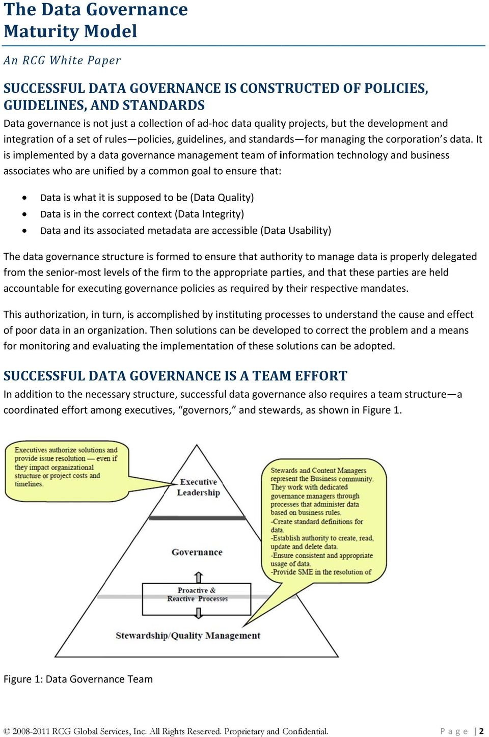 It is implemented by a data governance management team of information technology and business associatess who are unified by a common goal to ensure that: Data is what it is supposed to be (Data