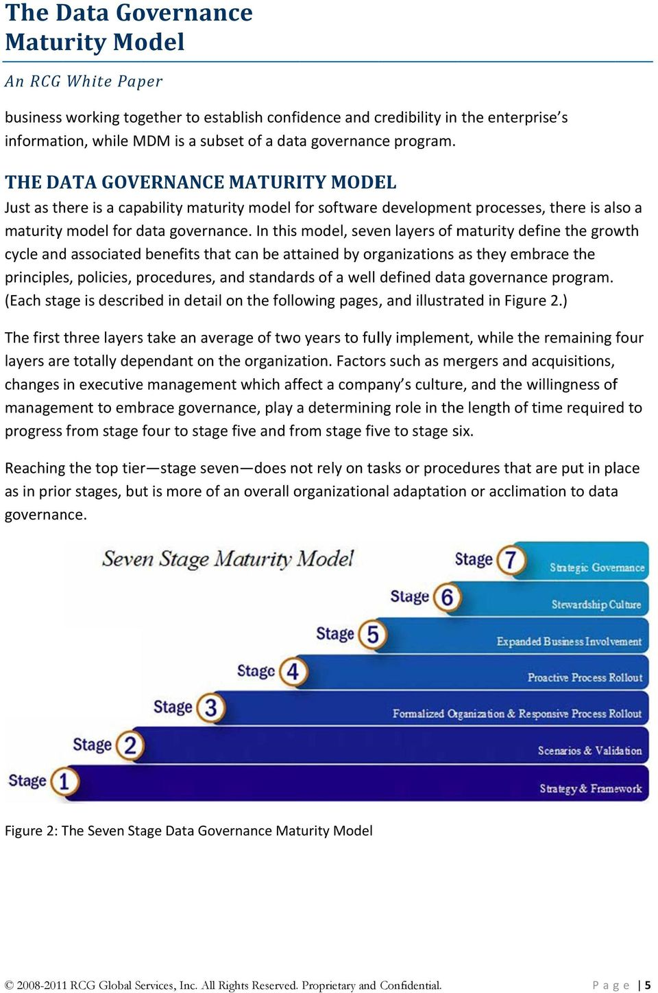 In this model, seven layers of maturity define the growth cycle and associated benefits that can be attained by organizations as they embrace the principles, policies, procedures, and standards of a