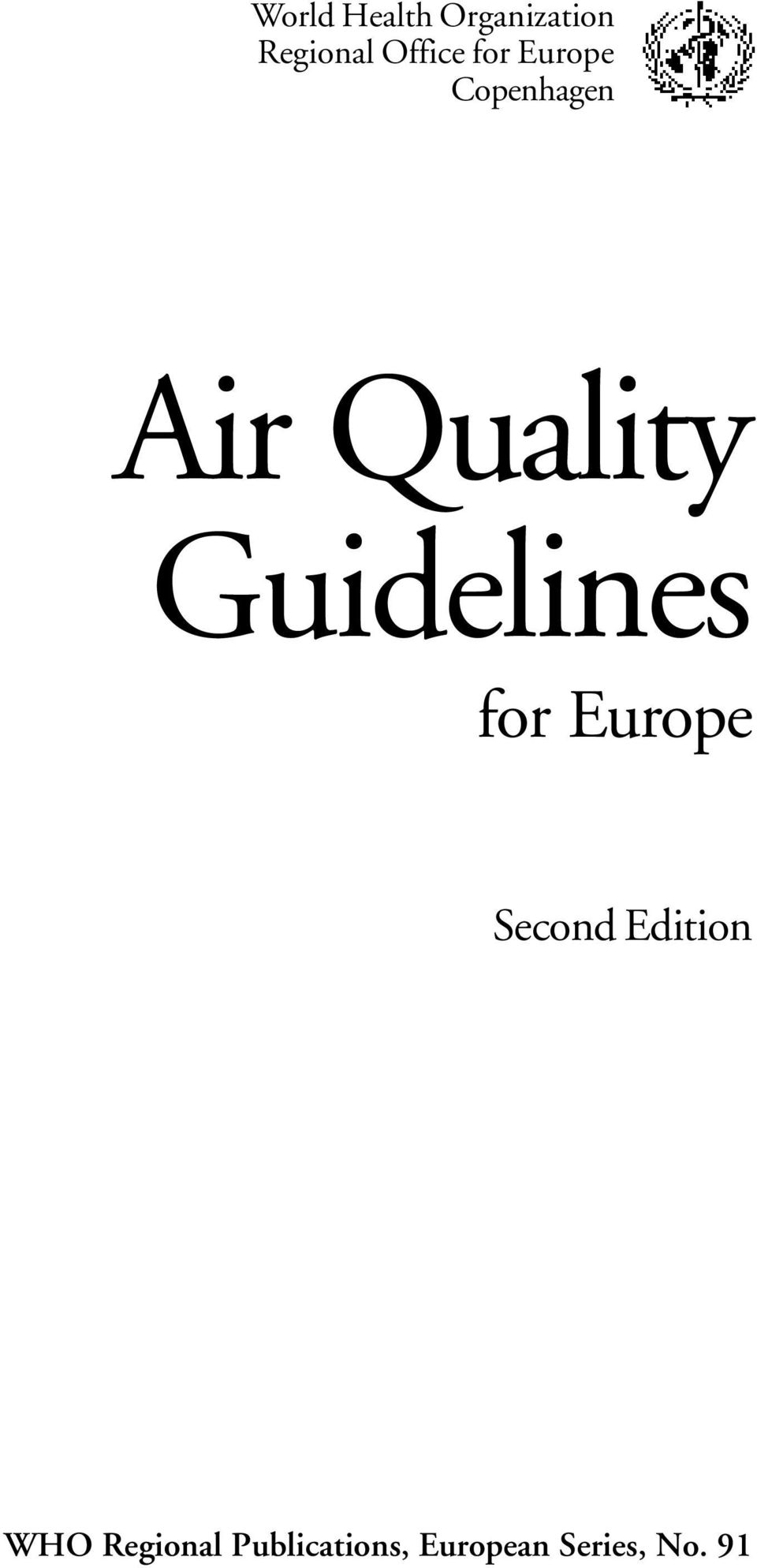 Guidelines for Europe Second Edition WHO