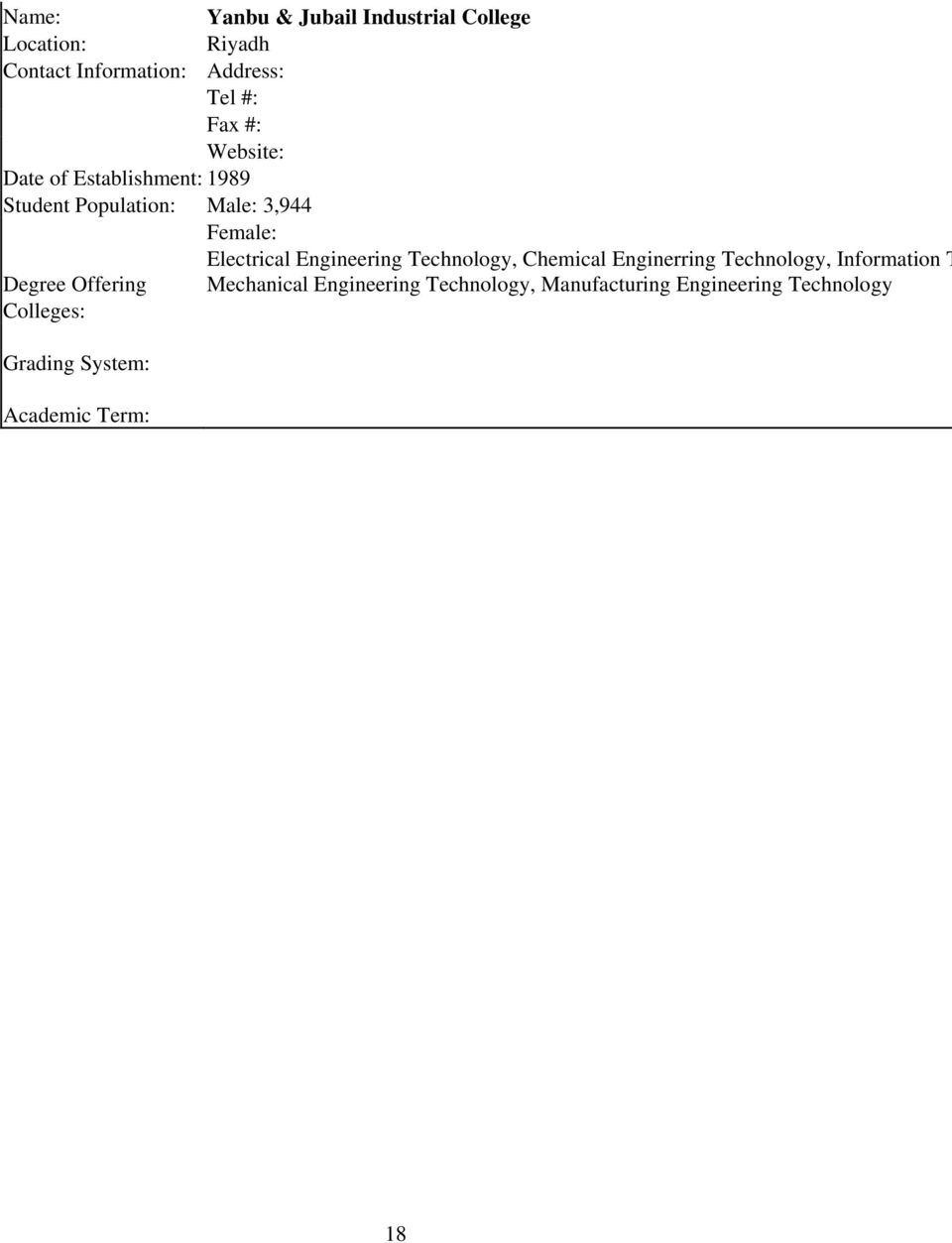 Engineering Technology, Chemical Enginerring Technology, Information T Degree Offering Mechanical