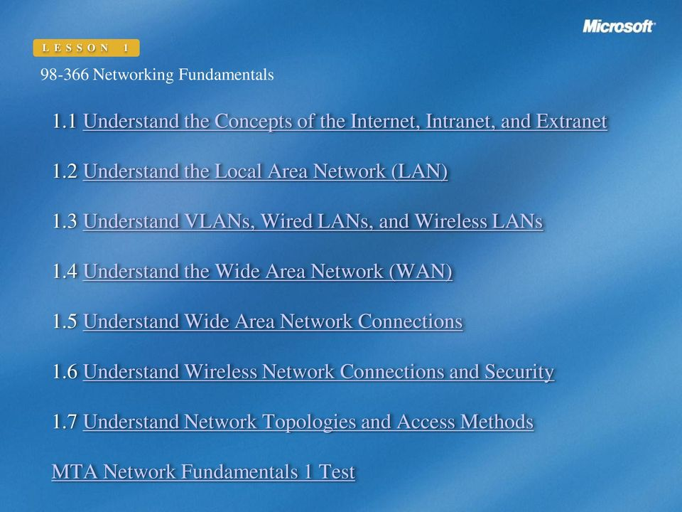 4 Understand the Wide Area Network (WAN) 1.5 Understand Wide Area Network Connections 1.