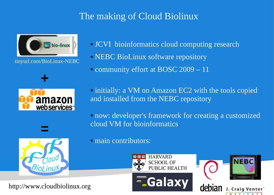 repository community effort at BOSC 2009 11 initially: a VM on Amazon EC2 with the tools copied