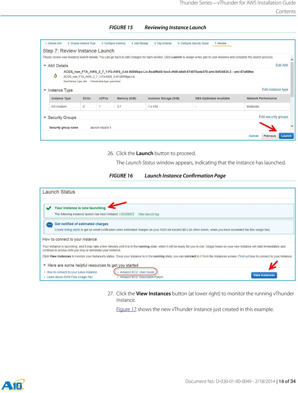 FIGURE 16 Launch Instance Confirmation Page 27.