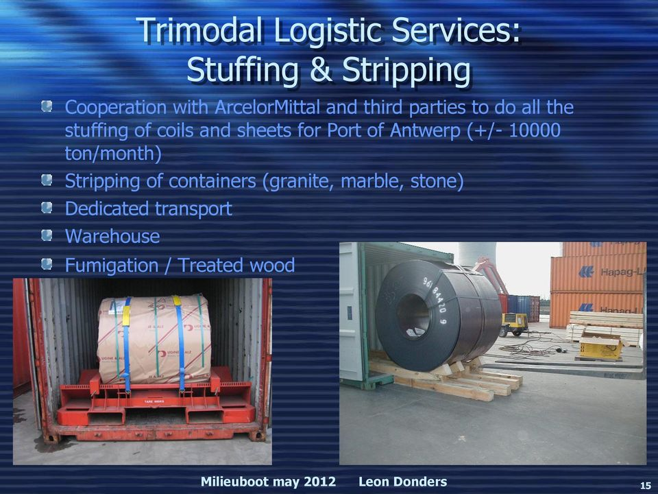(+/- 10000 ton/month) Stripping of containers (granite, marble, stone) Dedicated