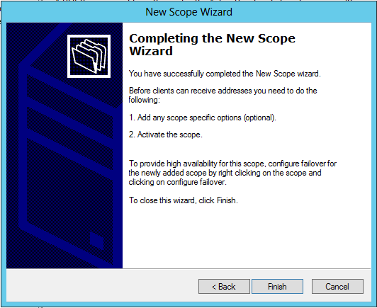 On the Completing the New Scope Wizard page, click Finish Expand Scope, right click on Scope Options and select Configure Options On the Scope Options dialog box, select the following: 003 Router