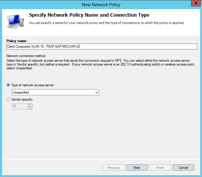 Configure a Network Policy for PEAP-EAP-MSCHAPv2 From the Network Policy Server Console, right click on Network Policies and select New On the Specify Network Policy Name