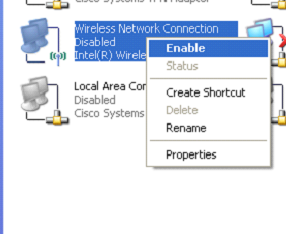 Right Click again on the Wireless Network Connections and Choose Enable. 2.