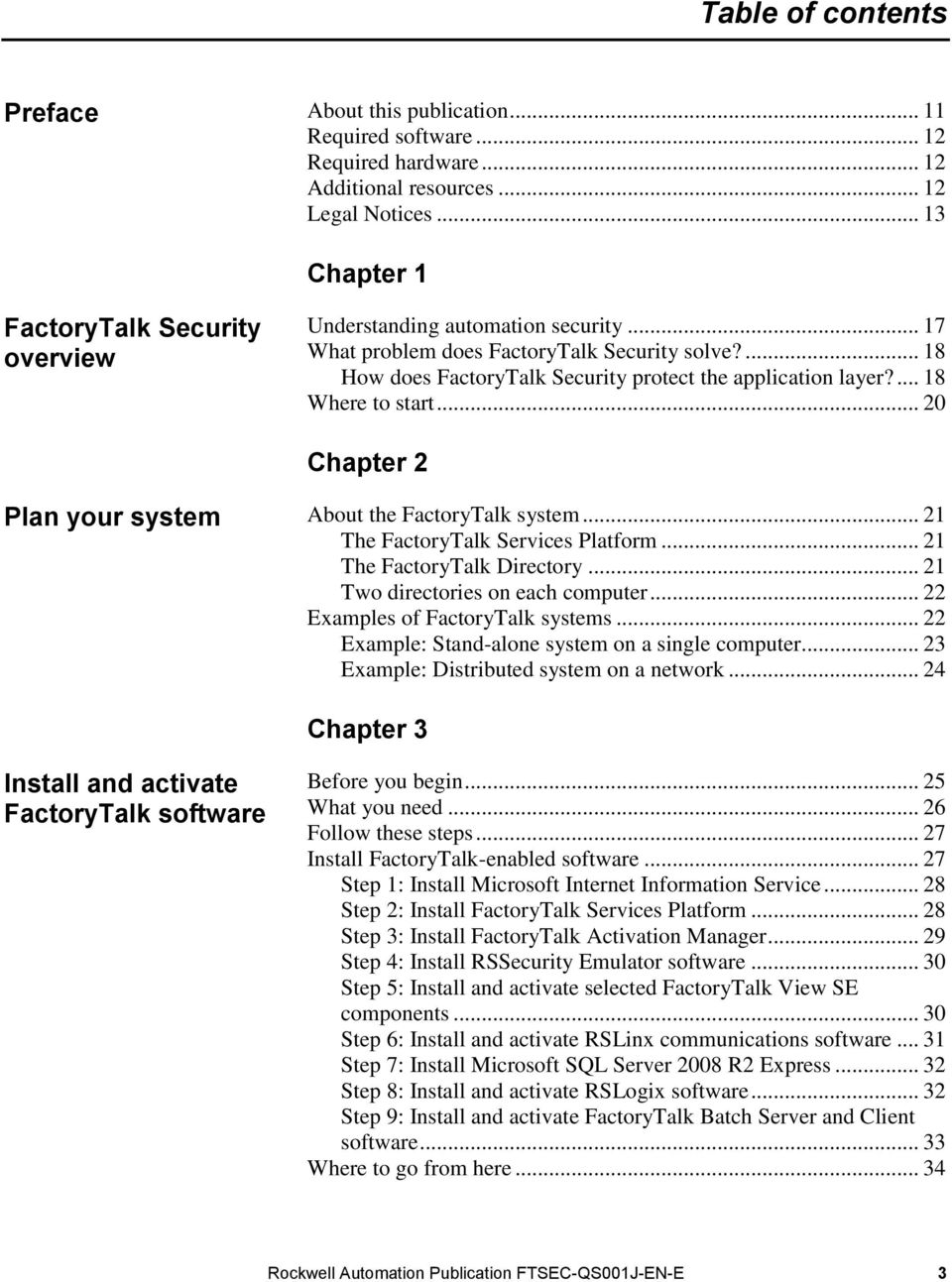 ... 18 Where to start... 20 Chapter 2 Plan your system About the FactoryTalk system... 21 The FactoryTalk Services Platform... 21 The FactoryTalk Directory... 21 Two directories on each computer.