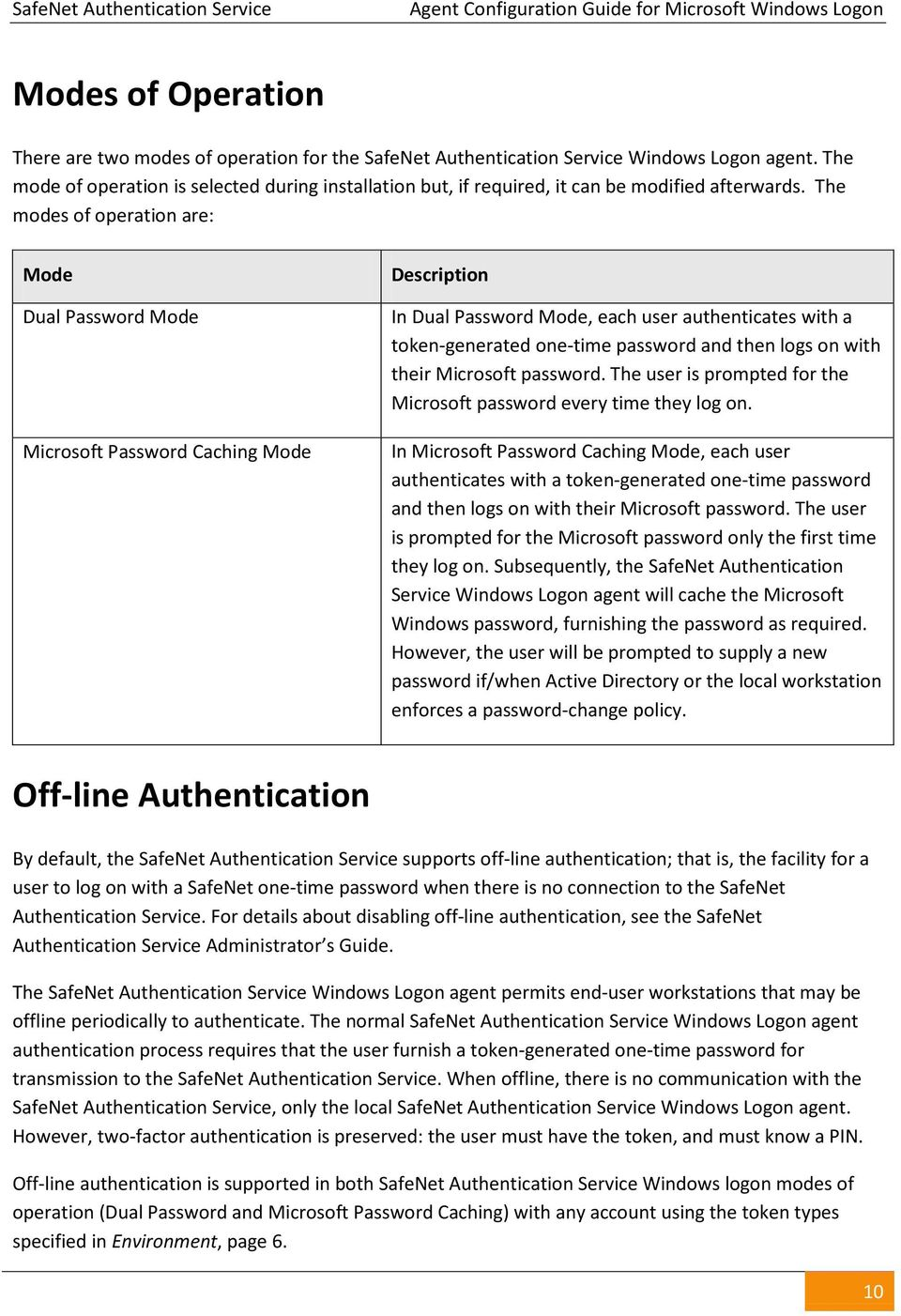 The modes of operation are: Mode Dual Password Mode Microsoft Password Caching Mode Description In Dual Password Mode, each user authenticates with a token-generated one-time password and then logs