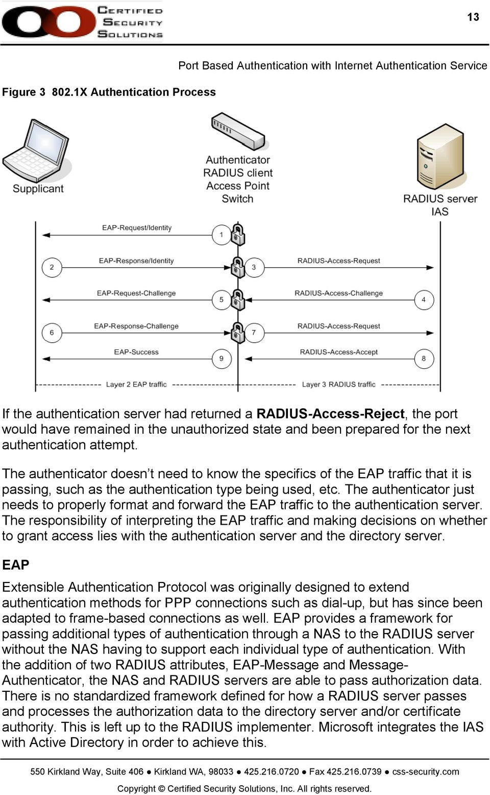 attempt. The authenticator doesn t need to know the specifics of the EAP traffic that it is passing, such as the authentication type being used, etc.