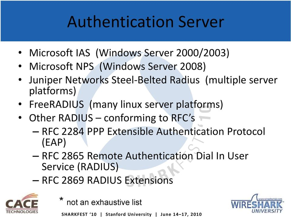 RADIUS conforming to RFC s RFC 2284 PPP Extensible Authentication Protocol (EAP) RFC 2865