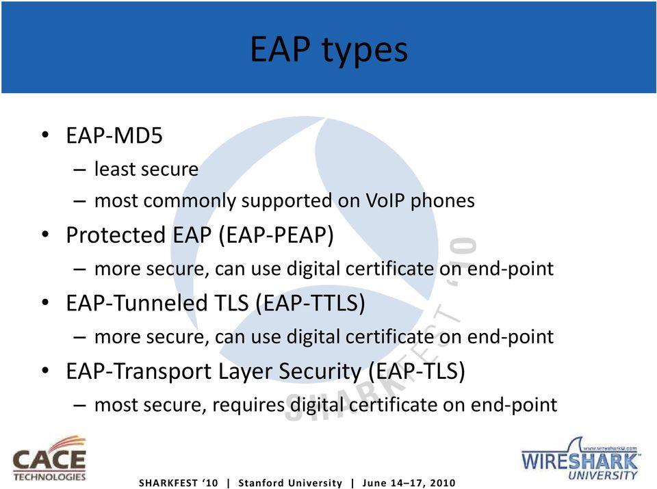 EAP-Tunneled TLS (EAP-TTLS) more secure, can use digital certificate on