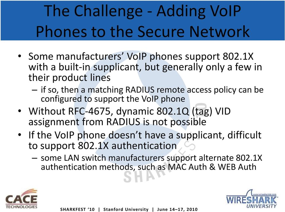 configured to support the VoIP phone Without RFC-4675, dynamic 802.