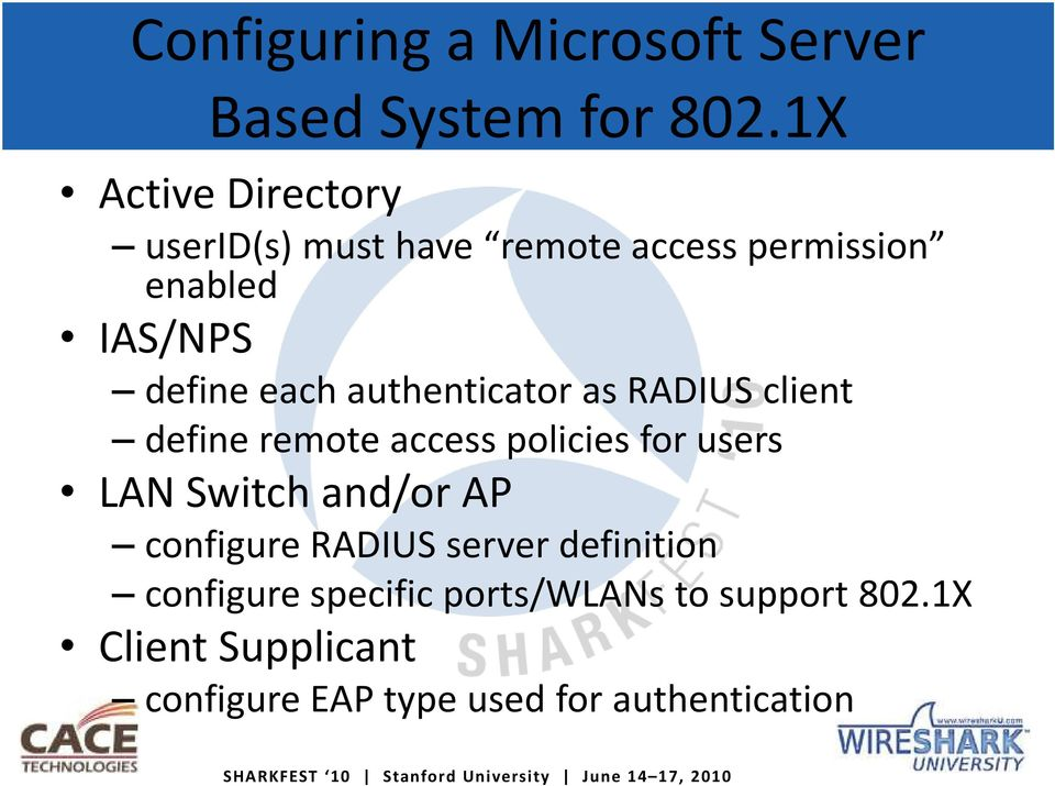 authenticator as RADIUS client define remote access policies for users LAN Switch and/or AP