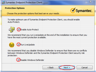 Table 26: Symantec Endpoint Protection Installation 7. Figure 47: Setup Type Screen Select Custom and click Next. 8.