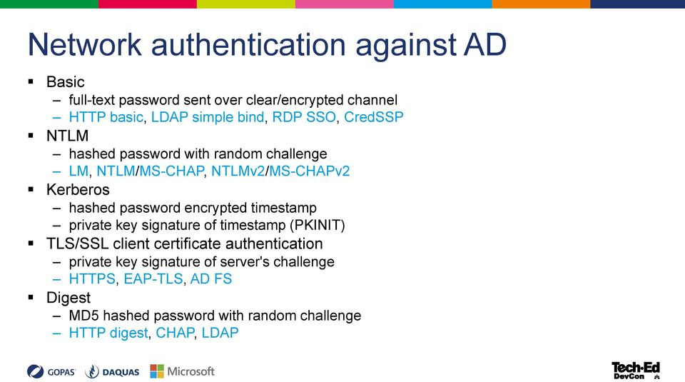 password encrypted timestamp private key signature of timestamp (PKINIT) TLS/SSL client certificate authentication