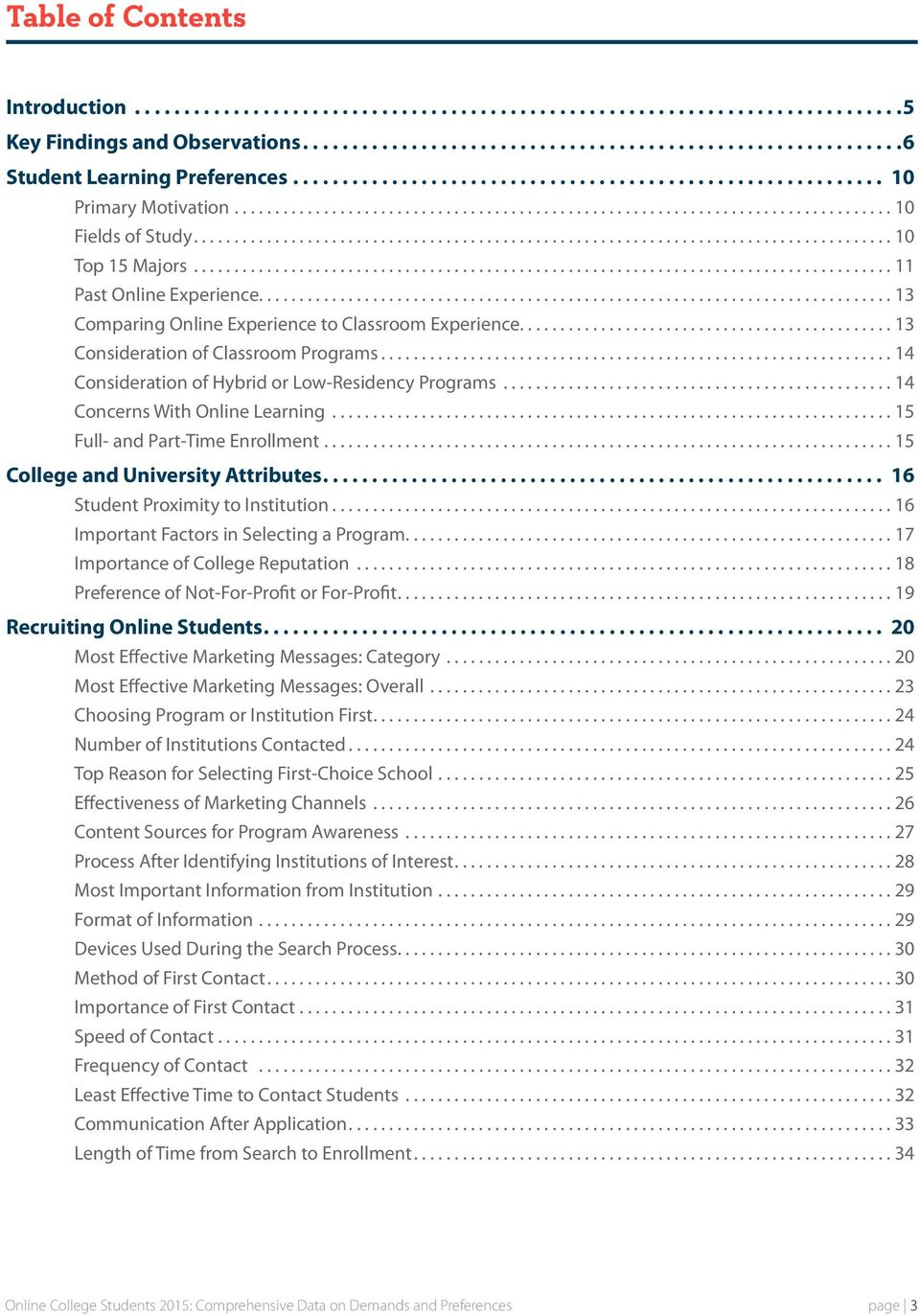 ..14 Consideration of Hybrid or Low-Residency Programs...14 Concerns With Online Learning...15 Full- and Part-Time Enrollment...15 College and University Attributes.