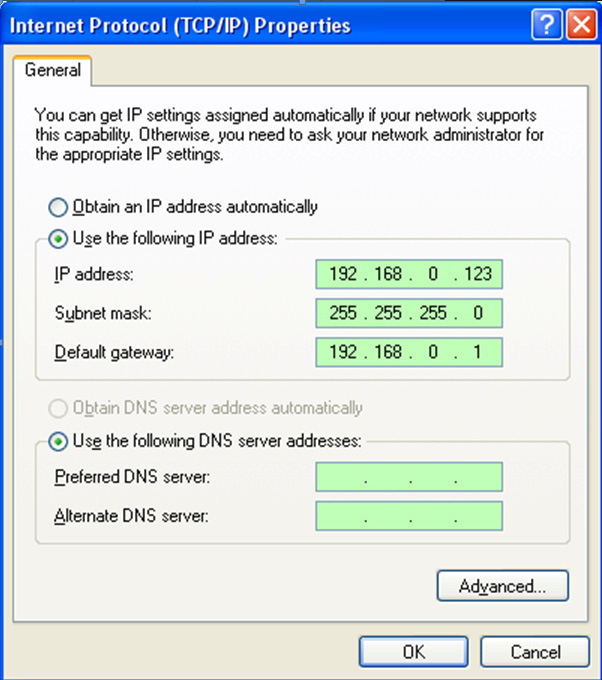 Step 6: Set the corresponding IP address, subnet mask, and default gateway on the DVR (for detailed instructions, refer to Section 5.5.5 Network Setup).