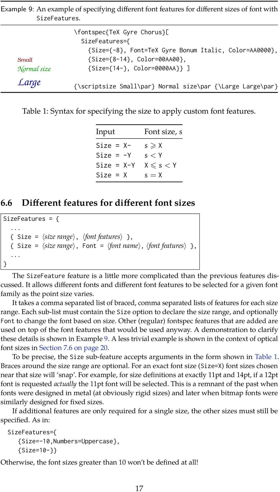Small\par} Normal size\par {\Large Large\par} Table 1: Syntax for specifying the size to apply custom font features.