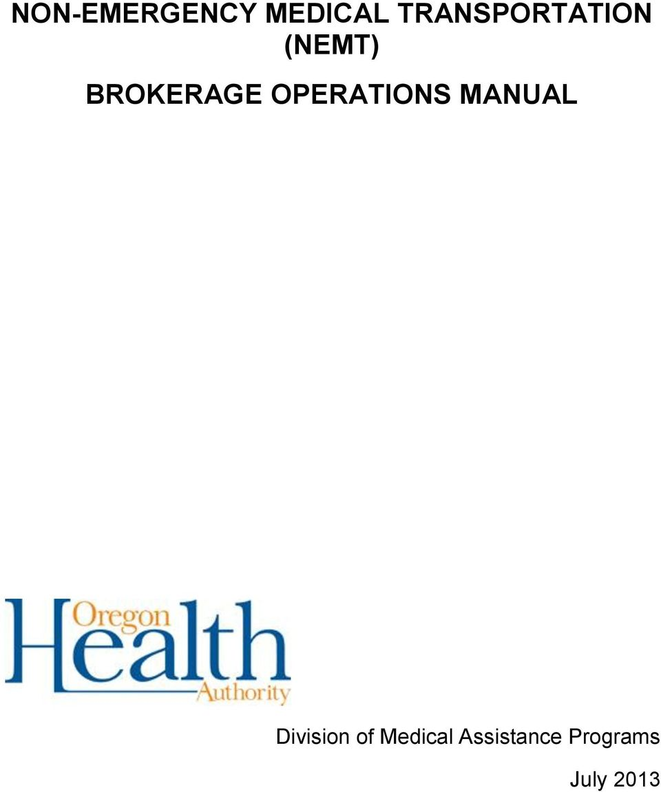 BROKERAGE OPERATIONS MANUAL