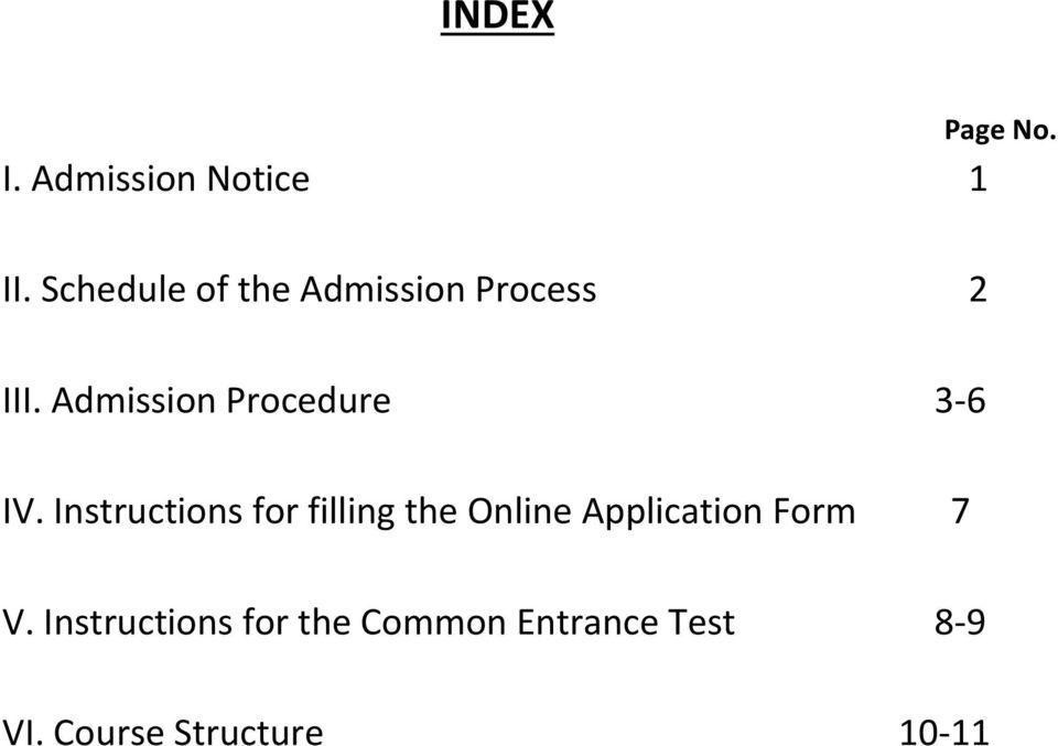 Admission Procedure 3-6 IV.