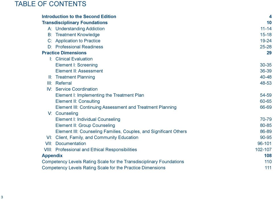 I: Implementing the Treatment Plan 54-59 element II: Consulting 60-65 element III: Continuing Assessment and Treatment Planning 66-69 V: Counseling element I: Individual Counseling 70-79 element II: