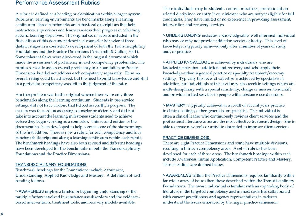 The original set of rubrics included in the first edition of this document described counselor behavior at three distinct stages in a counselor s development of both the Transdisciplinary Foundations
