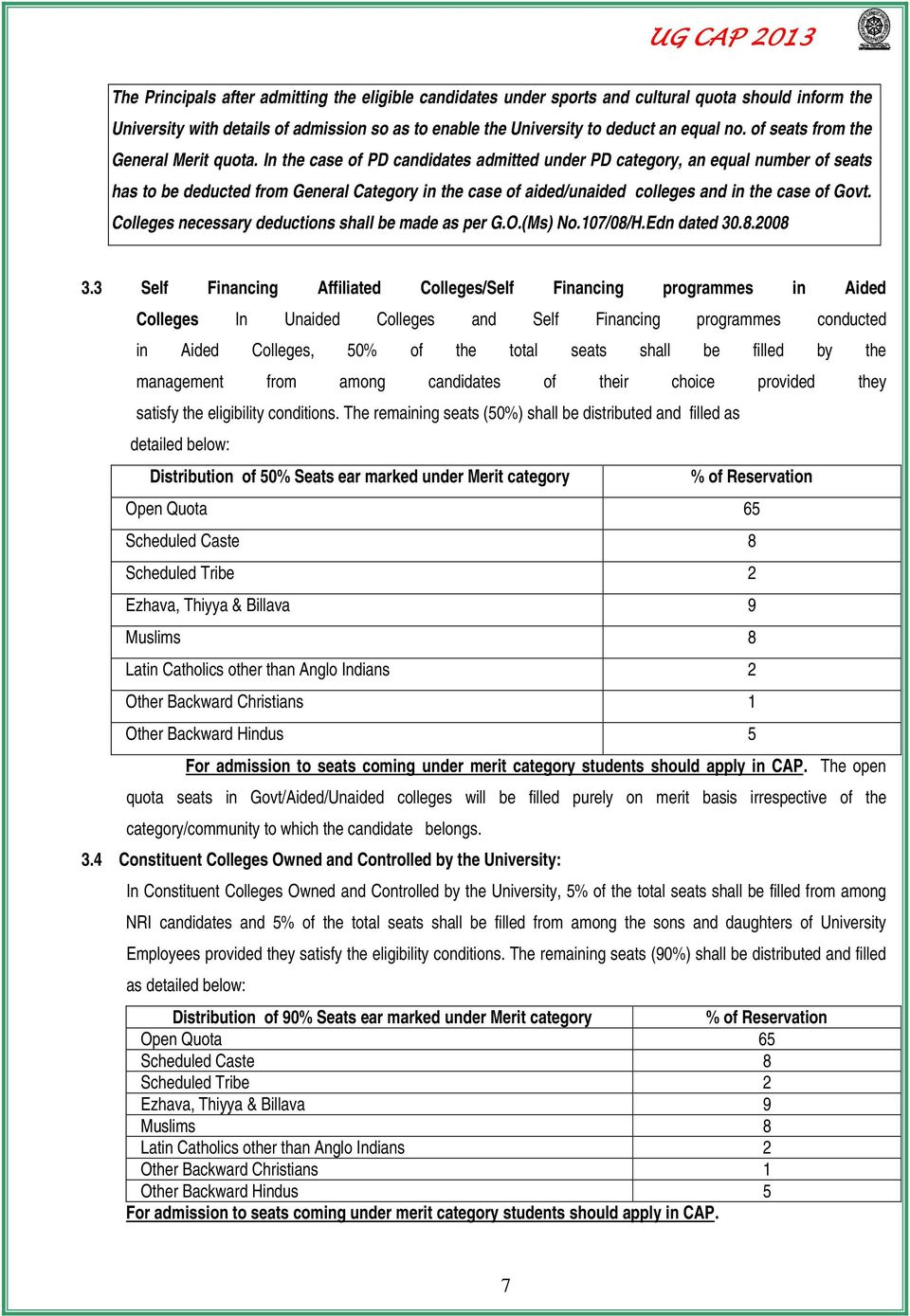 In the case of PD candidates admitted under PD category, an equal number of seats has to be deducted from General Category in the case of aided/unaided colleges and in the case of Govt.