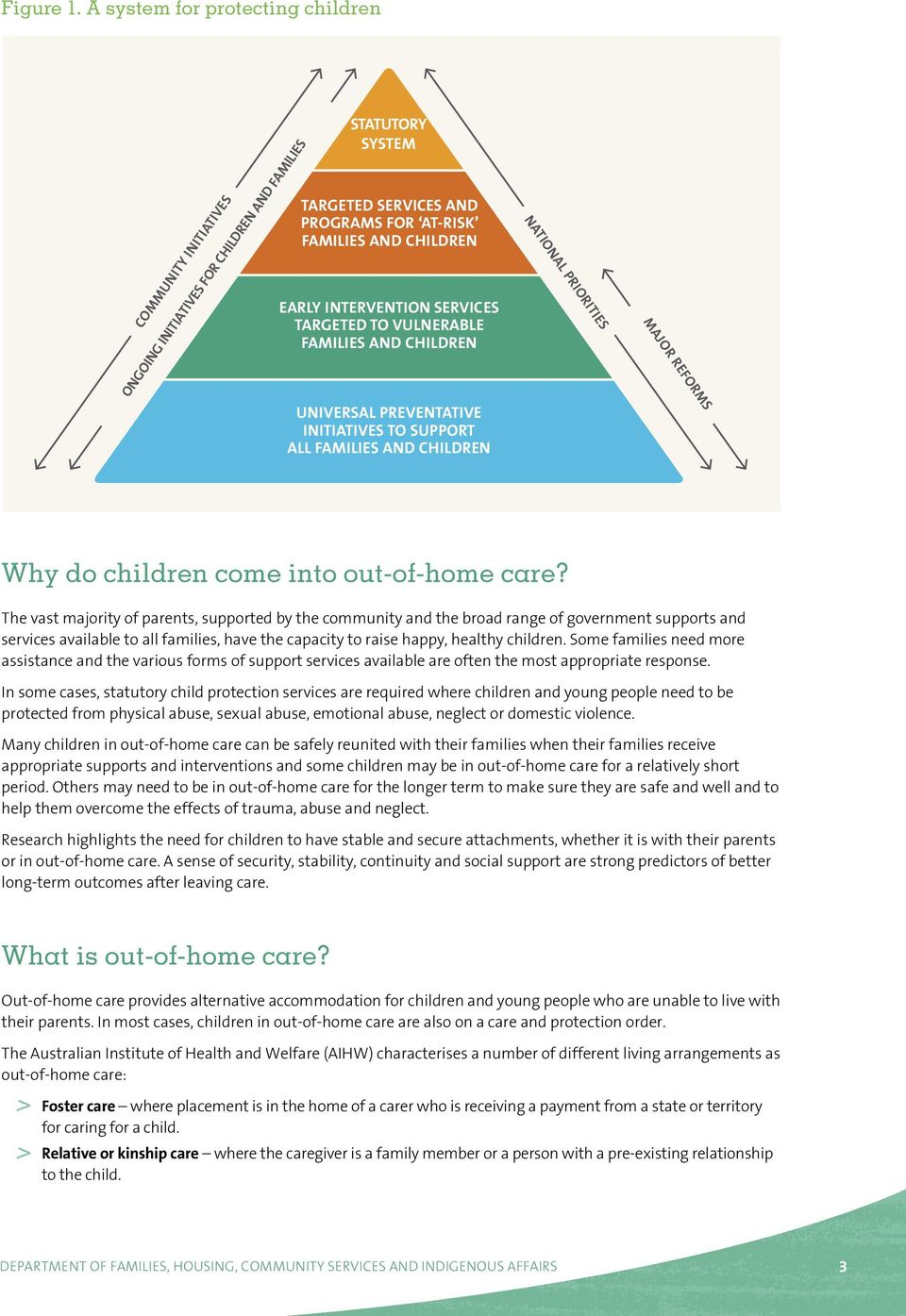 INTERVENTION SERVICES TARGETED TO VULNERABLE FAMILIES AND CHILDREN UNIVERSAL PREVENTATIVE INITIATIVES TO SUPPORT ALL FAMILIES AND CHILDREN NATIONAL PRIORITIES MAJOR REFORMS Why do children come into