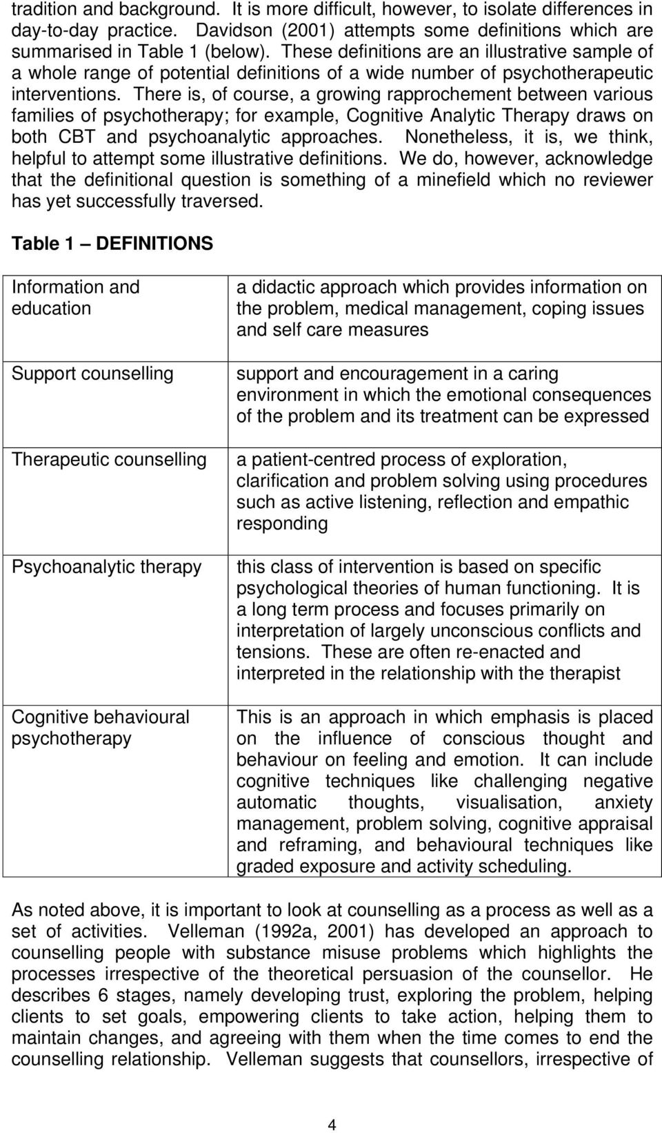 There is, of course, a growing rapprochement between various families of psychotherapy; for example, Cognitive Analytic Therapy draws on both CBT and psychoanalytic approaches.