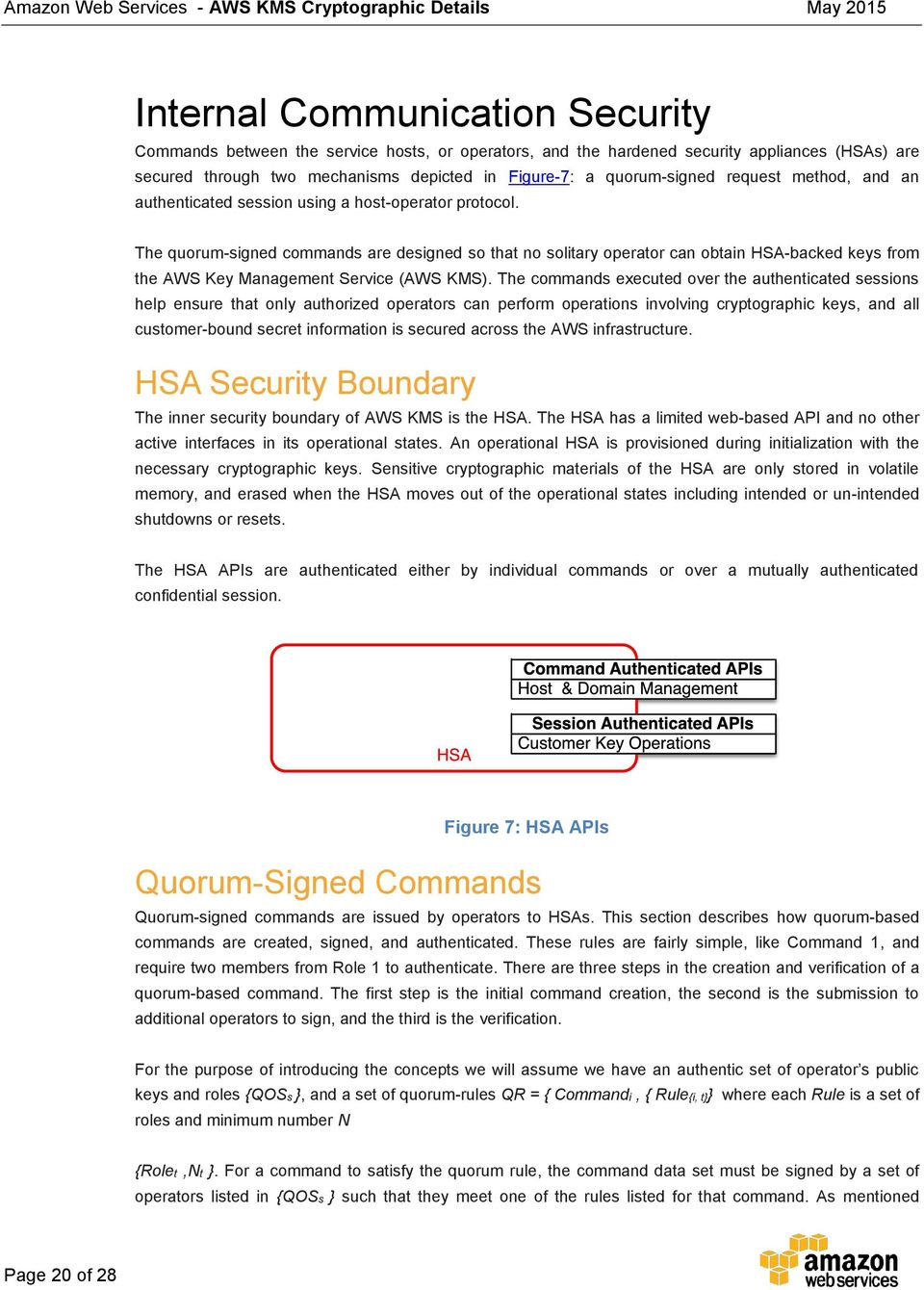 The quorum-signed commands are designed so that no solitary operator can obtain HSA-backed keys from the AWS Key Management Service (AWS KMS).