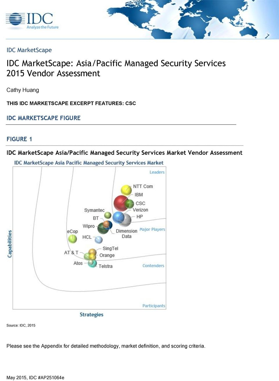 MarketScape Asia/Pacific Managed Security Services Market Vendor Assessment Source: IDC, 2015