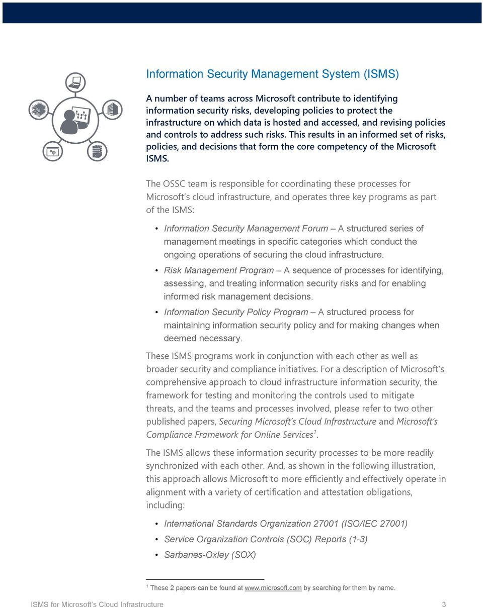 The OSSC team is responsible for coordinating these processes for Microsoft s cloud infrastructure, and operates three key programs as part of the ISMS: Information Security Management Forum A