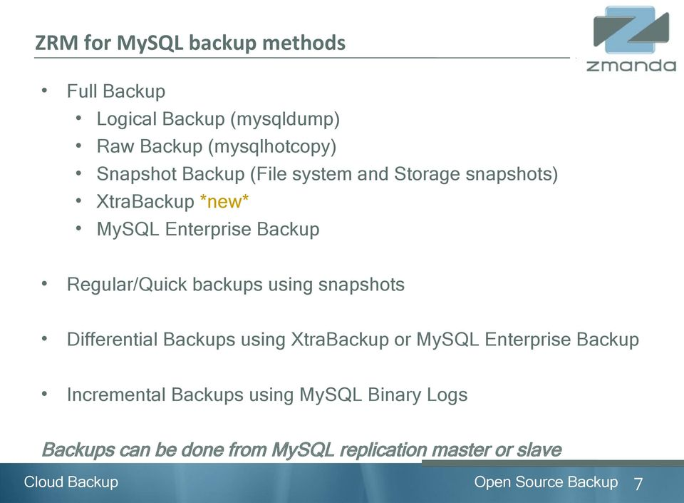 backups using snapshots Differential Backups using XtraBackup or MySQL Enterprise Backup Incremental