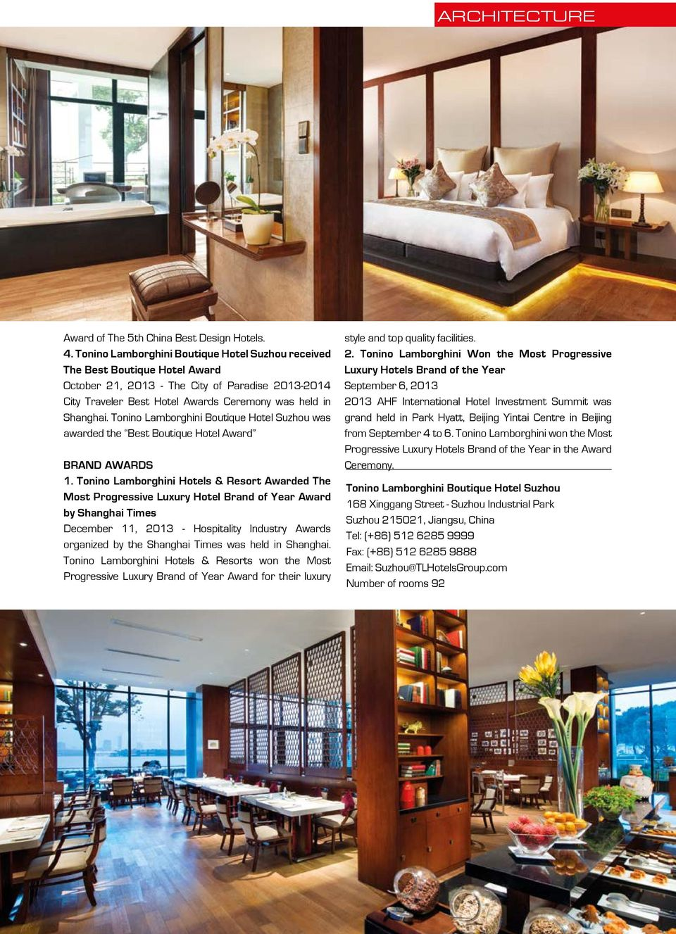 Tonino Lamborghini Boutique Hotel Suzhou was awarded the Best Boutique Hotel Award BRAND AWARDS 1.