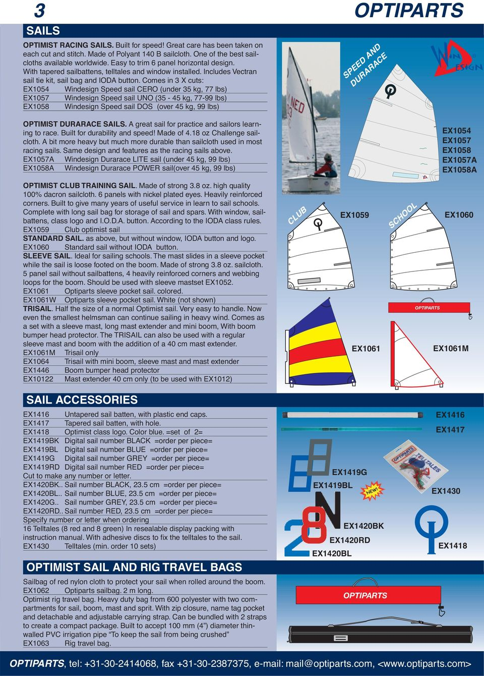 Comes in 3 X cuts: EX1054 Windesign Speed sail CERO (under 35 kg, 77 lbs) EX1057 Windesign Speed sail UNO (35-45 kg, 77-99 lbs) EX1058 Windesign Speed sail DOS (over 45 kg, 99 lbs) SPEED AND DURARACE