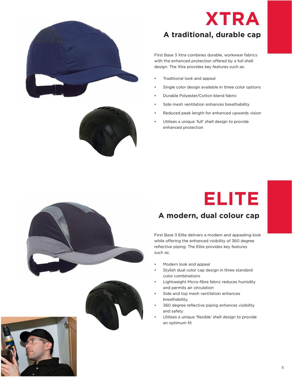 breathability Reduced peak length for enhanced upwards vision Utilises a unique full shell design to provide enhanced protection ELITE A modern, dual colour cap First Base 3 Elite delivers a modern