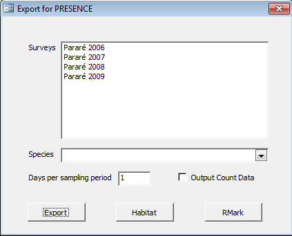 Export for Occupancy Analysis This option lets you export the data to PRESENCE (http://www.mbrpwrc.usgs.gov/software/presence.html) for occupancy analysis.
