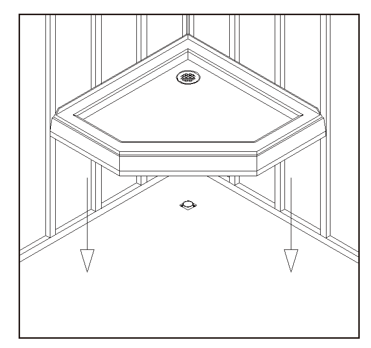 Place the tray into the designated position so that the Drain Body drops around the Drain Pipe and butt the