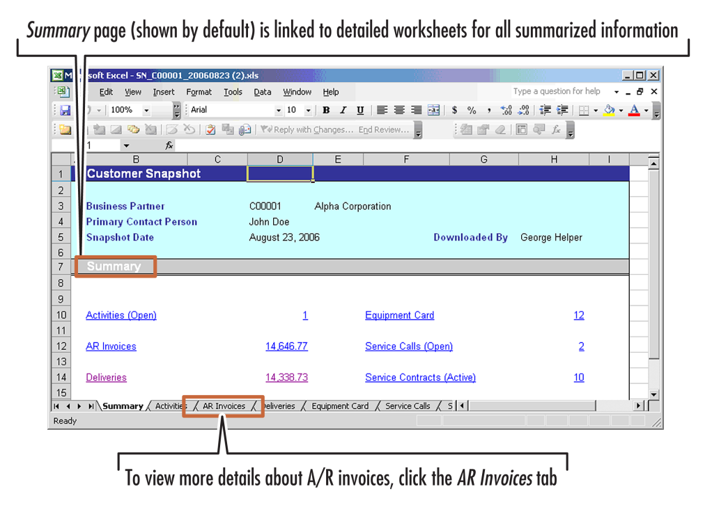 8 Sales Opportunities Figure 8-12: A customer snapshot opened in Microsoft Excel The snapshot includes a summary page (shown by default) that is linked to detailed worksheets for all the summarized