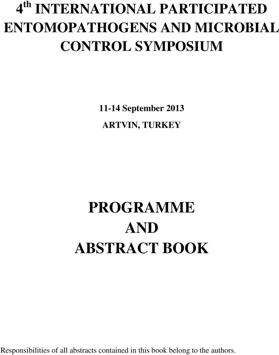 ARTVIN, TURKEY PROGRAMME AND ABSTRACT BOOK