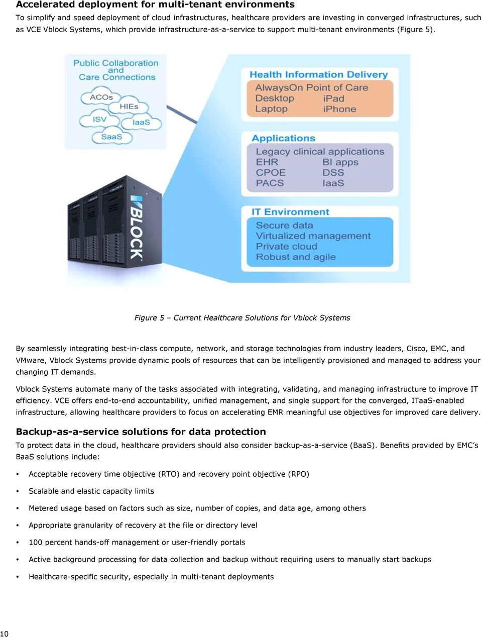 Figure 5 Current Healthcare Solutions for Vblock Systems By seamlessly integrating best-in-class compute, network, and storage technologies from industry leaders, Cisco, EMC, and VMware, Vblock