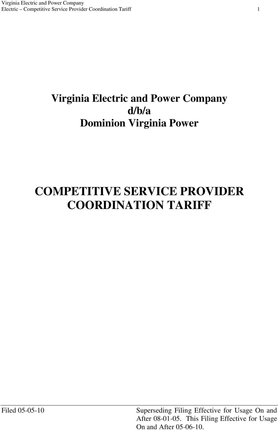 Power Company d/b/a Dominion Virginia Power